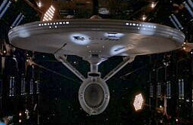 The Enterprise in drydock.